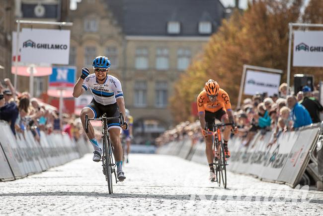 Victory sprint for Estonian National Champion Mihkel Raïm (EST/Israël Cycling Academy) beating Pawel Bernas (POL/CCC) and Preben Van Hecke (BEL/Sport Vlaanderen Baloise).<br /> <br /> 1st Great War Remembrance Race 2018 (UCI Europe Tour Cat. 1.1) <br /> Nieuwpoort > Ieper (BE) 192.7 km