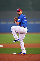 Tulsa Drillers starting pitcher Chris Anderson (32) gets ready to deliver a pitch during a game against the Arkansas Travelers on April 25, 2016 at ONEOK Field in Tulsa, Oklahoma.  Tulsa defeated Arkansas 4-3.  (Mike Janes/Four Seam Images)