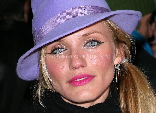 """Cameron Diaz at the premiere of """"Gangs of New York."""" New York, December 9, 2002. Please byline: NY Photo Press. REF: MM_FF190 -- THIS REFERENCE CODE MUST APPEAR ON YOUR SALES REPORT, THANK YOU...*   ..*PAY-PER-USE*      ....NY Photo Press:  ..phone (646) 267-6913;   ..e-mail: info@nyphotopress.com"""