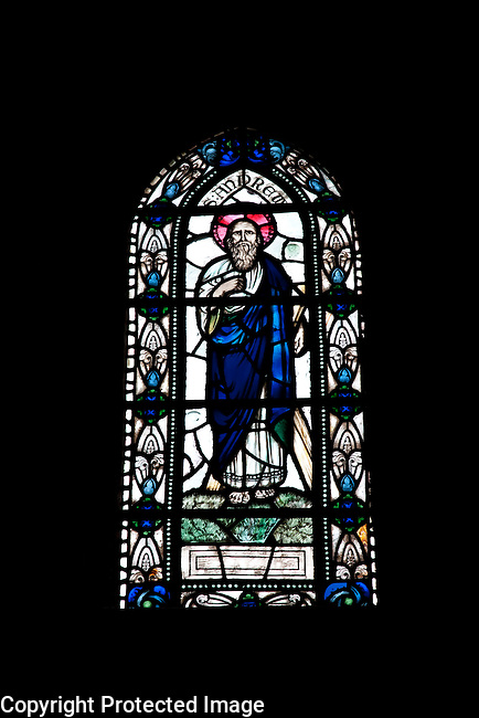 St Andrew on a Stained Glass Window in Kirkwall Cathedral