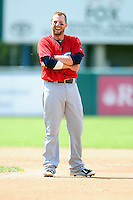 Columbus Clippers center fielder Tyler Holt (15) during a game versus the Pawtucket Red Sox at McCoy Stadium in Pawtucket, Rhode Island on May 17,2015.  (Ken Babbitt/Four Seam Images)