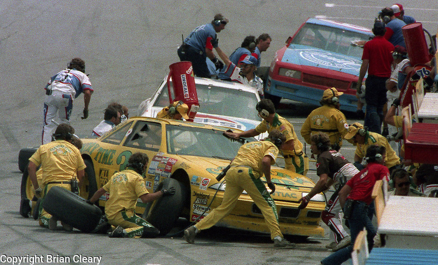 pits pit road action Pepsi Firecracker 400 at Daytona International Speedway in Daytona Beach, FL in July 1988. (Photo by Brian Cleary/www.bcpix.com)