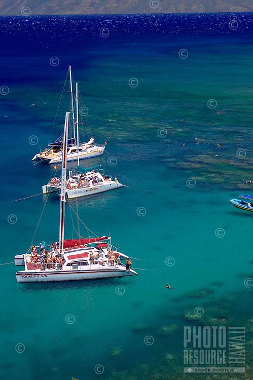 Snorkel Charter Catamarans at Honolua bay, Maui, Hawaii