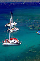 Snorkel Charter Catamarans at Honolua bay, Maui, Hawaii