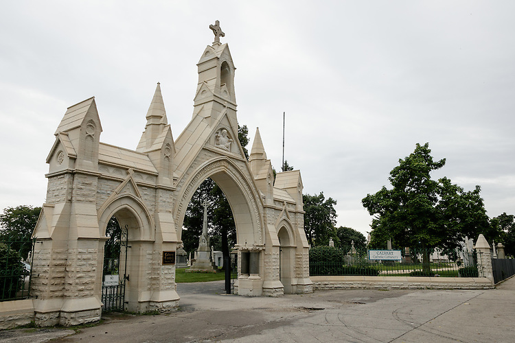 Calvary Catholic Cemetery in Evanston, IL, Saturday, Sept. 10, 2016, the burial site of Minnie Daly, the first lay female graduate of DePaul in 1914. Daly was buried in her sister's grave (Florence Daly) without any marker. DePaul recently provided a new grave marker to indicate the site of her burial. (DePaul University/Jeff Carrion)