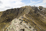 Striding Edge arete and Helvellyn mountain peak, Lake District, Cumbria, England, UK