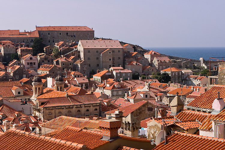 Red and orange terra-cotta roofs of the old town (stari grad) of Dubrovnik, Croatia