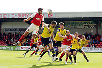 Fleetwood Town's Wes Burns wins a header in the Oxford United penalty area<br /> <br /> Photographer Rich Linley/CameraSport<br /> <br /> The EFL Sky Bet League One - Fleetwood Town v Oxford United - Saturday 7th September 2019 - Highbury Stadium - Fleetwood<br /> <br /> World Copyright © 2019 CameraSport. All rights reserved. 43 Linden Ave. Countesthorpe. Leicester. England. LE8 5PG - Tel: +44 (0) 116 277 4147 - admin@camerasport.com - www.camerasport.com