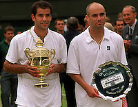 PETE SAMPRAS  (USA) WINS MENS SINGLES BEATING ANDRE AGASSI IN FINAL WIMBLEDON CHAMPIONSHIPS 04/07/99 PHOTO ROGER PARKER FOTOSPORTS INTERNATIONAL