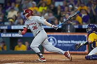 Tyler Hardman (36) of the Oklahoma Sooners follows through on his swing against the LSU Tigers in game seven of the 2020 Shriners Hospitals for Children College Classic at Minute Maid Park on March 1, 2020 in Houston, Texas. The Sooners defeated the Tigers 1-0. (Brian Westerholt/Four Seam Images)