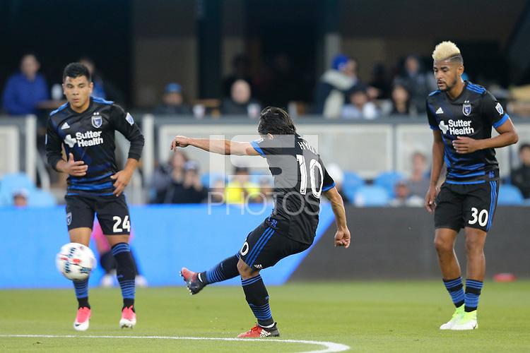 San Jose, CA - Wednesday May 17, 2017: Jahmir Hyka during a Major League Soccer (MLS) match between the San Jose Earthquakes and Orlando City SC at Avaya Stadium.