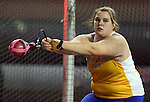 VERMILLION, SD - FEBRUARY 8:  Amy Paulzine from South Dakota State University throws the hammer at the University of South Dakota Track Alumni Meet Saturday at the DakotaDome in Vermillion. Paulzine won the hammer Saturday afternoon. (Photo by Dave Eggen/Inertia)