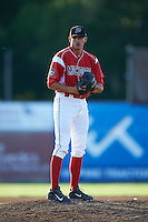 Batavia Muckdogs pitcher Justin Jacome (44) gets ready to deliver a warmup pitch during a game against the Williamsport Crosscutters on July 15, 2015 at Dwyer Stadium in Batavia, New York.  Williamsport defeated Batavia 6-5.  (Mike Janes/Four Seam Images)