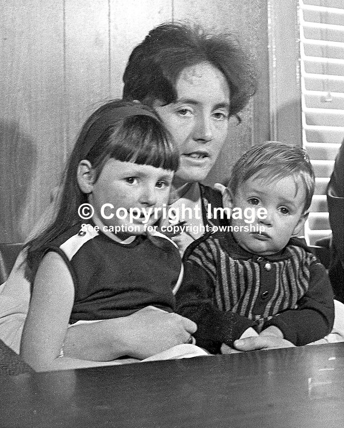 Betty Brown, with Andrew (2) and Carole (5), the family of Albert Edward Browne, sentenced to death for the murder of Police Constable Gordon Harron. 197302160100.<br /> <br /> Copyright Image from Victor Patterson, 54 Dorchester Park, Belfast, UK, BT9 6RJ<br /> <br /> t1: +44 28 9066 1296 (from Rep of Ireland 048 9066 1296)<br /> t2: +44 28 9002 2446 (from Rep of Ireland 048 9002 2446)<br /> m: +44 7802 353836<br /> <br /> e1: victorpatterson@me.com<br /> e2: victorpatterson@gmail.com<br /> <br /> The use of my copyright images is subject to my Terms &amp; Conditions.<br /> <br /> It is IMPORTANT that you familiarise yourself with them. They are available on my website at www.victorpatterson.com.<br /> <br /> None of my copyright images may be used on a website unless they are visibly watermarked, i.e. &copy; Victor Patterson within the body of the visible image. Metadata denoting my copyright must NOT be deleted. <br /> <br /> Web use (maximum size - 300 kb) is extra at currently recommended NUJ rates.