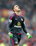 Vito Mannone of Sunderland celebrates the first Sunderland goal during the Barclays Premier League match at the Stadium of Light, Sunderland. Photo credit should read: Simon Bellis/Sportimage