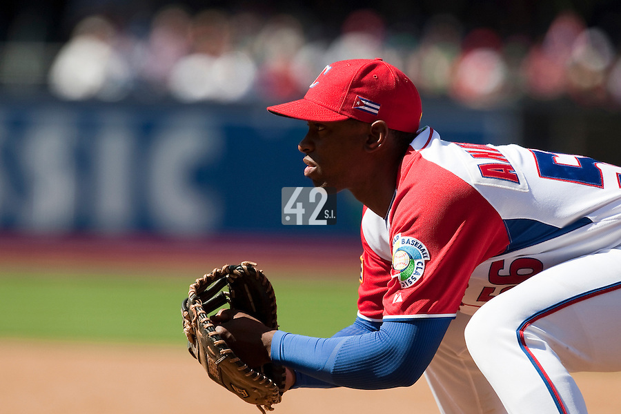 15 March 2009: #56 Leslie Anderson of Cuba is seen at first base during the 2009 World Baseball Classic Pool 1 game 1 at Petco Park in San Diego, California, USA. Japan wins 6-0 over Cuba.