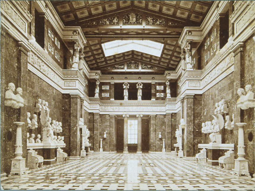 Title: Sepia Photo of the main hall at Walhalla<br />