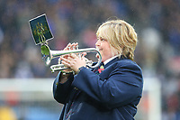 A bugler plays the last post prior to kick off of the Sky Bet Championship match between Cardiff City and Brentford at the Cardiff City Stadium, Wales, UK. Saturday 18 November 2017