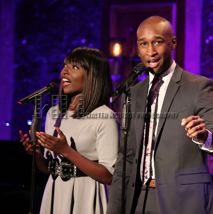 """Loren Lott and Donald Webber Jr. on stage during a Song preview performance of the BeBe Winans Broadway Bound Musical """"Born For This"""" at Feinstein's 54 Below on November 5, 2018 in New York City."""