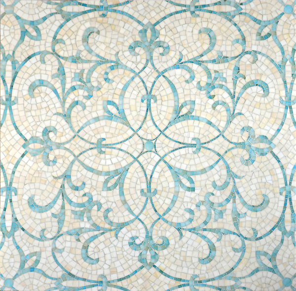Marabel, a hand-cut mosaic shown in Aquamarine and Quartz jewel glass, is part of the Silk Road collection by Sara Baldwin for New Ravenna.