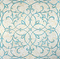 Marabel, a handmade mosaic by Sara Baldwin for New Ravenna, is shown in Aquamarine and Quartz jewel glass.<br />