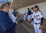 Reno Aces pitcher #24 Braden Shipley talks to the local press on Media Day, Tuesday April 3, 2018 in Reno, Nevada.