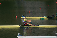 Lucerne, SWITZERLAND, 15th July 2018, Sunday Women's Single Scull Final A, SUI W1X,  Jeannine GMELIN, winning the Gold Medal, at the FISA World Cup III Lake Rotsee, © Peter SPURRIER,