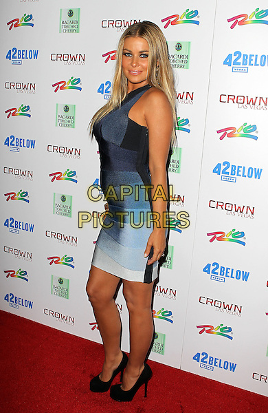 CARMEN ELECTRA.hosts a special night out at Crown Nightclub inside the Rio All-Suite Hotel and Casino, Las Vegas, Nevada, USA, 10th July 2010..full length blue striped Herve Leger bandage body con dress one shoulder white grey gray black shoes  .CAP/ADM/MJT.© MJT/AdMedia/Capital Pictures.