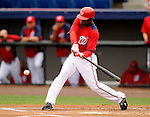 10 March 2011: Washington Nationals' outfielder Nyjer Morgan singles to lead off the first inning during a Spring Training game against the New York Mets at Space Coast Stadium in Viera, Florida. The Nationals edged out the Mets 6-5 in Grapefruit League play. Mandatory Credit: Ed Wolfstein Photo