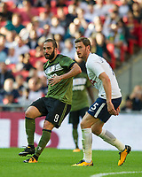 Juventus Gonzalo Higuain and Tottenham's Jan Vertonghen during the pre season friendly match between Tottenham Hotspur and Juventus at White Hart Lane, London, England on 5 August 2017. Photo by Andrew Aleksiejczuk / PRiME Media Images.