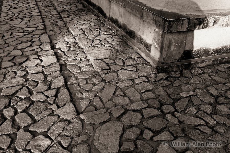 Cobble stone walking path at the foot of Koufuku-ji Temple in Nara Japan.