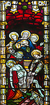 Victorian stained glass window detail Deposition scene, Everleigh church, Wiltshire, England, UK by W.T. Cleobury 1873