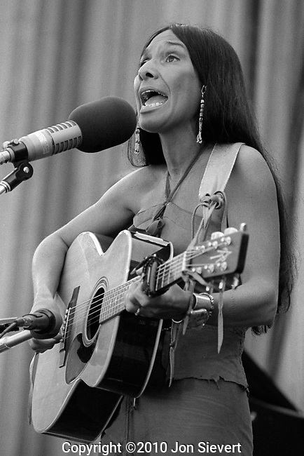 Buffy St. Marie, Bread & Roses Festival, Berkeley, Oct. 9, 1977. Academy Award-winning aboriginal Canadian singer-songwriter, musician, composer, visual artist, pacifist, educator, social activist, and philanthropist. Throughout her career in all of these areas, her work has focused on issues of Native Americans. Her singing and writing repertoire includes subjects of love, war, religion, and mysticism. Her music might generally be categorized as Folk and Traditional Music, though she did record one mostly Country Music album