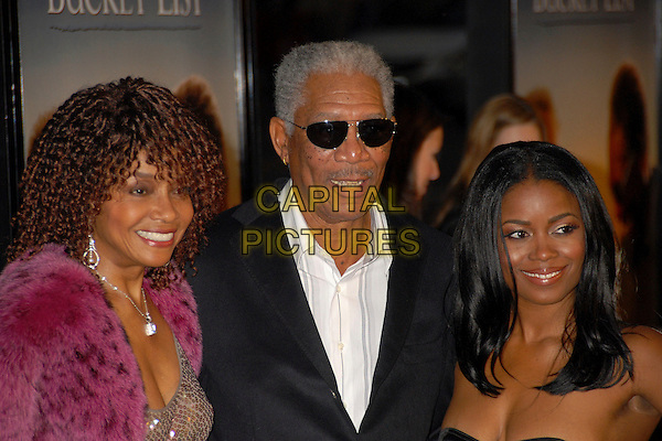 "BEVERLY TODD, MORGAN FREEMAN & SERENA REEDER.""The Bucket List"" Los Angeles Premiere at the Cinerama Dome, Hollywood, California, USA..December 16th, 2007.headshot portrait sunglasses shades pink fur strapless .CAP/ADM/BP.©Byron Purvis/AdMedia/Capital Pictures."