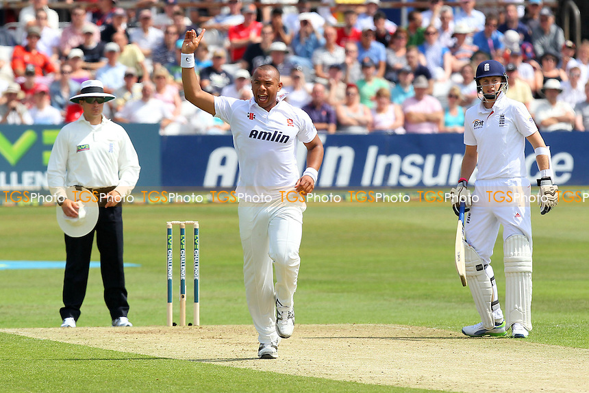 Tymal Mills of Essex celebrates the wicket of England batsman Alastair Cook - Essex CCC vs England - LV Challenge Match at the Essex County Ground, Chelmsford - 30/06/13 - MANDATORY CREDIT: Gavin Ellis/TGSPHOTO - Self billing applies where appropriate - 0845 094 6026 - contact@tgsphoto.co.uk - NO UNPAID USE