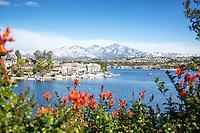 Scenic Lake Mission Viejo with Snow on Santiago Peak Mountains