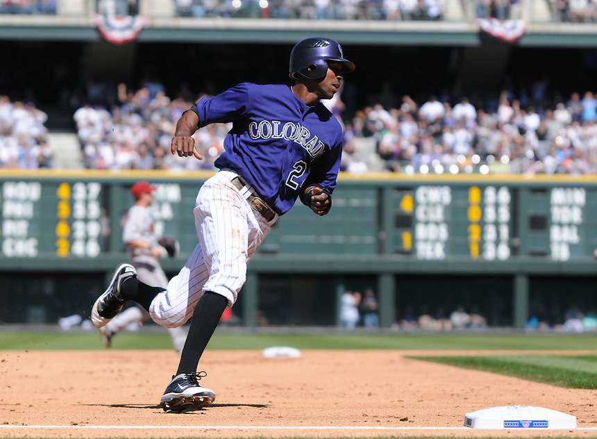 01 April 2011: Colorado Rockies center fielder Dexter Fowler (24) advances on the basepath during a regular season game between the Arizona Diamondbacks and the Colorado Rockies at Coors Field in Denver, Colorado. The Diamondbacks beat the Rockies 7-6 in 11 innings.    *****For Editorial Use Only*****