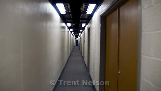 walking through the hallways in the Marriott Center. BYU vs. San Diego State (SDSU), college basketball