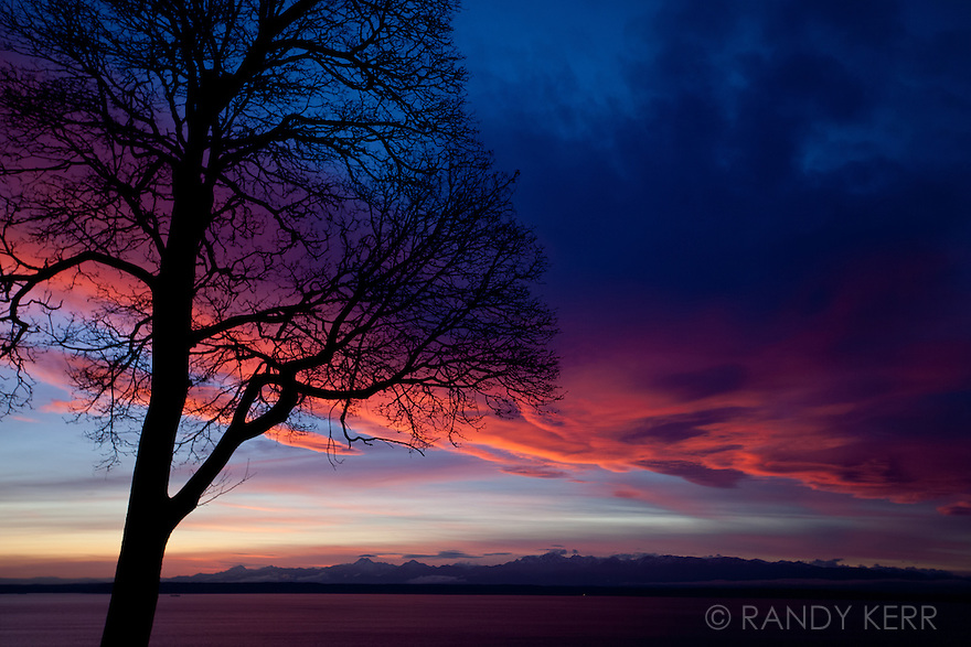 Winter sunset over the Olympic Mountains and Puget Sound