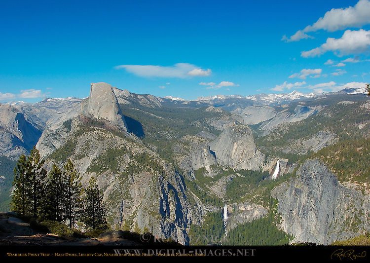 Washburn Point View, Half Dome, Liberty Cap, Vernal Fall and Nevada Fall in Spring, Yosemite National Park