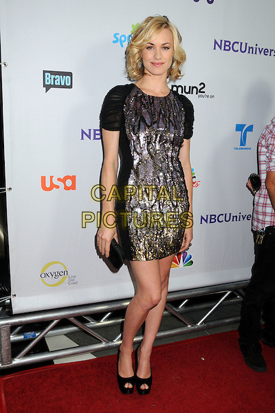 Yvonne Strahovski.NBC Universal TCA 2011 Press Tour All-Star Party held at the SLS Hotel, Los Angeles, California, USA. .August 1st, 2011.full length dress clutch bag black purple beads beaded .CAP/ADM/BP.©Byron Purvis/AdMedia/Capital Pictures.
