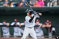 Idaho Falls Chukars shortstop Offerman Collado (0) at bat during a Pioneer League game against the Great Falls Voyagers at Melaleuca Field on August 18, 2018 in Idaho Falls, Idaho. The Idaho Falls Chukars defeated the Great Falls Voyagers by a score of 6-5. (Zachary Lucy/Four Seam Images)