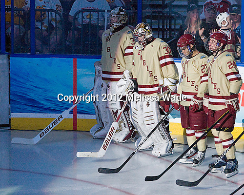Parker Milner (BC - 35), Chris Venti (BC - 30), Quinn Smith (BC - 27), Bill Arnold (BC - 24) - The Boston College Eagles defeated the University of Minnesota Golden Gophers 6-1 in their 2012 Frozen Four semi-final on Thursday, April 5, 2012, at the Tampa Bay Times Forum in Tampa, Florida.