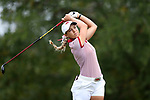 CHAPEL HILL, NC - OCTOBER 15: Arkansas' Cara Gorlei (RSA) on the 9th tee. The third and final round of the Ruth's Chris Tar Heel Invitational Women's Golf Tournament was held on October 15, 2017, at the UNC Finley Golf Course in Chapel Hill, NC.