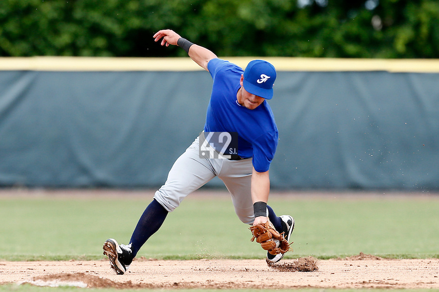 19 September 2012: Maxime Lefevre catches the ball during Team France friendly game won 6-3 against Palm Beach State College, during the 2012 World Baseball Classic Qualifier round, in Lake Worth, Florida, USA.