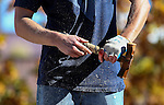 "Jeff Cooper drills 7-19/32"" in the annual Nevada Day rock drilling competition in Carson City, Nev. on Saturday, Oct. 29, 2016. <br /> Photo by Cathleen Allison"