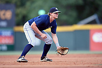 Third baseman Reed Gamache (40) of the Columbia Fireflies plays defense in a game against the Greenville Drive on Thursday, June 15, 2017, at Fluor Field at the West End in Greenville, South Carolina. Columbia won, 7-2. (Tom Priddy/Four Seam Images)