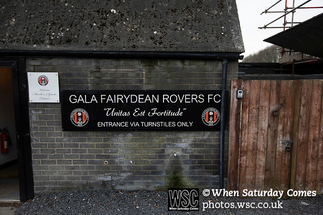 Gala Fairydean Rovers 4, Gretna 1, 25/01/2020. Netherdale, Scottish Lowland League. An exterior view of the stadium before Gala Fairydean Rovers host Gretna 2008 in a Scottish Lowland League match at Netherdale, Galashiels. The home club were established in 2013 through a merger of Gala Fairydean, one of Scotland's most successful non-League clubs, and local amateur club Gala Rovers. The visitors were a 'phoenix' club set up in the wake of the collapse of the original club, which had competed for a short time in the 2000s before going bankrupt. The home aside won this encounter 4-1 watched by a crowd of 120. Photo by Colin McPherson.