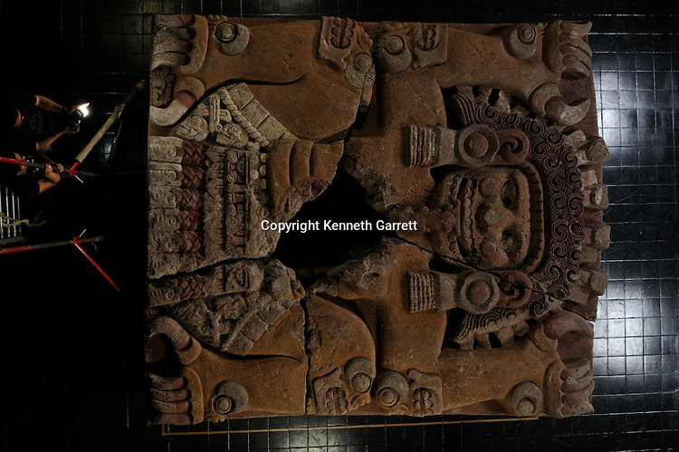 mm7677, Greatest Aztecs, Tlaltechutli Stone moved to museum, Templo Mayor, Mexico City, Mexico,tomb of Ahuitzotl, Earth Mother Goddess