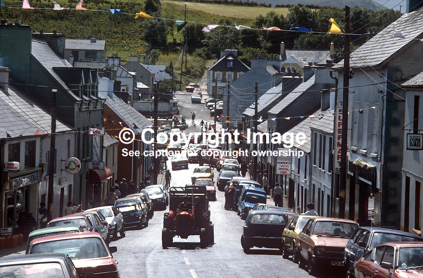 Main Street, Ardara, Co Donegal, Rep of Ireland, August, 1982, 19820800121n..Copyright Image from Victor Patterson, 54 Dorchester Park, Belfast, UK, BT9 6RJ.  Tel: +44 28 90661296  Mobile: +44 7802 353836.Email: victorpatterson@me.com Email: victorpatterson@gmail.com..For my Terms and Conditions of Use go to http://www.victorpatterson.com/ and click on Terms & Conditions